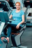picture of exercise bike  - Cycling on exercise bike - JPG