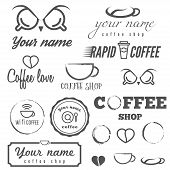 Collection of vintage logo and logotype elements for coffee shop, cafe and restaurant