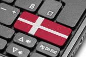 Go To Denmark! Computer Keyboard With Flag Key.