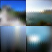Blur landscape vector backgrounds. Blurred hexagonal backgrounds set