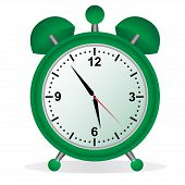 Alarm, clock, time, vector, illustration, green