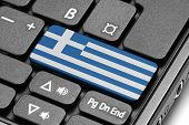 Go To Greece! Computer Keyboard With Flag Key.
