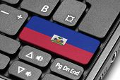 Go To Haiti! Computer Keyboard With Flag Key.