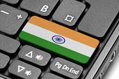 Go To India! Computer Keyboard With Flag Key.