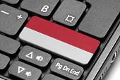 Go To Indonesia! Computer Keyboard With Flag Key.