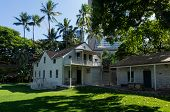 foto of framing a building  - Old frame clapboard building at Mission Houses Museum in Honolulu Oahu Hawaii - JPG