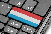Go To Luxembourg! Computer Keyboard With Flag Key.