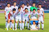 Sisaket Thailand-february 18: Players Of Bec Tero Pose For A Team Picture Prior To Thai Premier Leag
