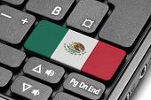 Go To Mexico! Computer Keyboard With Flag Key.