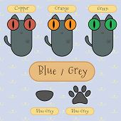 Blue/grey Color Cat.