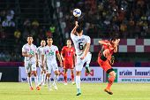 Sisaket Thailand-february 18: Tanasak Srisai Of Bec Tero (white) In Action During Thai Premier Leagu