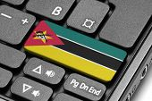 Go To Mozambique! Computer Keyboard With Flag Key.