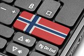 Go To Norway! Computer Keyboard With Flag Key.