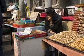 Nut Seller In Xi'an Weekend Market