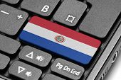 Go To Paraguay! Computer Keyboard With Flag Key.