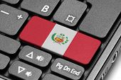 Go To Peru! Computer Keyboard With Flag Key.