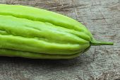 stock photo of bitter melon  - Bitter melon with interesting texture captured in the studio  - JPG