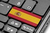 Go To Spain! Computer Keyboard With Flag Key.