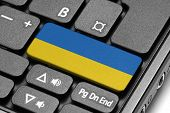 Go To Ukraine! Computer Keyboard With Flag Key.