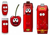 Cartoon cherry fruit with juice characters