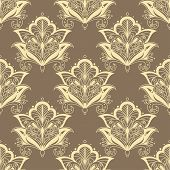 Contoured persian flowers vintage seamless pattern