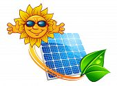 stock photo of solar battery  - Solar energy panel decorated sun rays and green leaves in dew above them happy cartoon sun in sunglasses for alternative power sources concept design - JPG