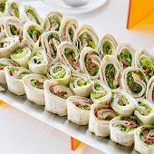 Постер, плакат: Plate Of Many Mini Bite Size Sandwich Appetizers