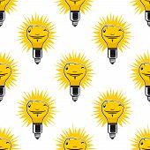 Bright cartoon light bulbs seamless pattern