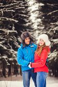 Happy Couple On Winter Background