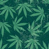 stock photo of marijuana leaf  - Seamless background pattern from hemp leaves and grunge effect - JPG