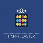 Colored Easter Egg Set Dash Line Giftbox Card Flat Design
