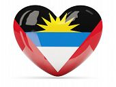 Heart Shaped Icon With Flag Of Antigua And Barbuda