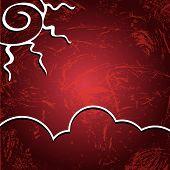 Vector Background. Sun On A Shabby Burgundy Background