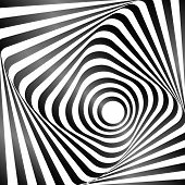 Illusion Of Wavy Rotation Movement. Op Art Design. Vector Art.