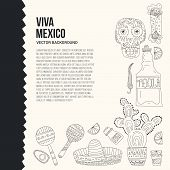 picture of guitar  - Hand drawn set of mexican symbols  - JPG