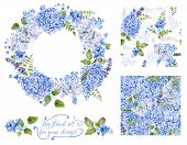 Set Of Different  Blue, Cyan  Hydrangea, Lavender, Currant, Frame And Two Seamless Patterns  For Des
