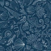 stock photo of creatures  - Vector seamless pattern with hand drawn fishes - JPG