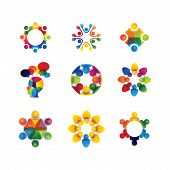 image of leader  - collection of people icons in circle  - JPG