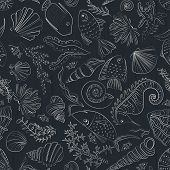 pic of creatures  - Vector seamless pattern with hand drawn fishes - JPG