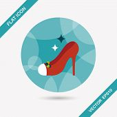 Wedding High-heeled Shoes Flat Icon With Long Shadow,eps10