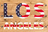 Los Angeles Painted With Pattern Of Flag United States Old Oak Wood Fastened
