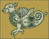 pixel bird design in folk style for cross stitch embroidery
