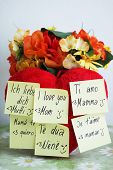 Heart with full of yellow reminder with I love you Mother in different languages