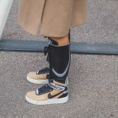 Detail Of Sneakers Outside Jil Sander Fashion Show Building For Milan Women's Fashion Week 2015