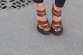 Detail Of Shoes Outside Jil Sander Fashion Show Building For Milan Women's Fashion Week 2015