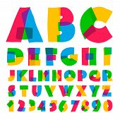 Colorful kids alphabet and numbers