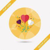Wedding Ballons Flat Icon With Long Shadow,eps10