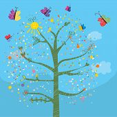 Funny card with tree and butterflies