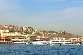 Ferry Boats In Bosporus, Istanbul, Turkey