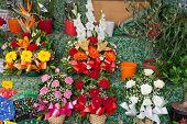 Bouquets In A Show-window Of Flower Shop